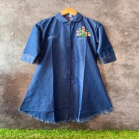 Imported stuff s present embroidery cotton based denim tunic shirt