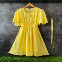 IMPORTED STUFF PRESENTS V NECK WITH ANTIQUE BROACH RUFFLE BALOON SLEEVE SHORT WESTERN DRESS