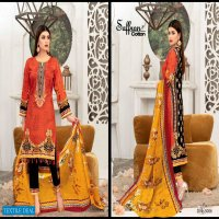 Saffron Cotton Gulzar Karachi Queen Vol-5 Wholesale Karachi Style Dress Material