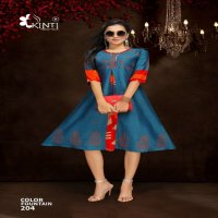 KINTI LAUNCH COLOR FOUNTAIN 2 DAILY WEAR RAYON KURTIS WITH FLAIR STICHING PATTERN