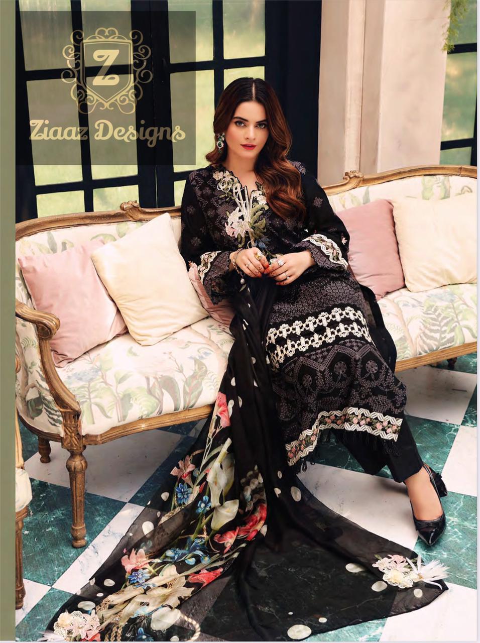 ZIAAZ DESIGNS  BLACK BEAUTY PAKISTANI DESSIGNER DRESS