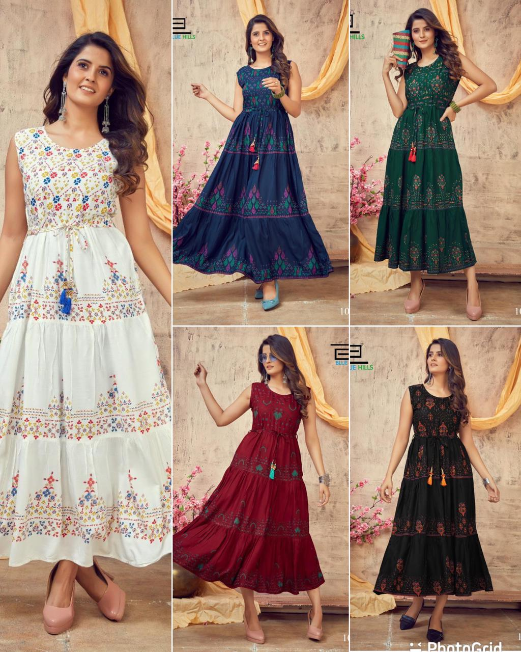 NITYA  HEAVY RAYON PRINTED LONG SLEEVELESS  GOWN WITH FRILL BELT