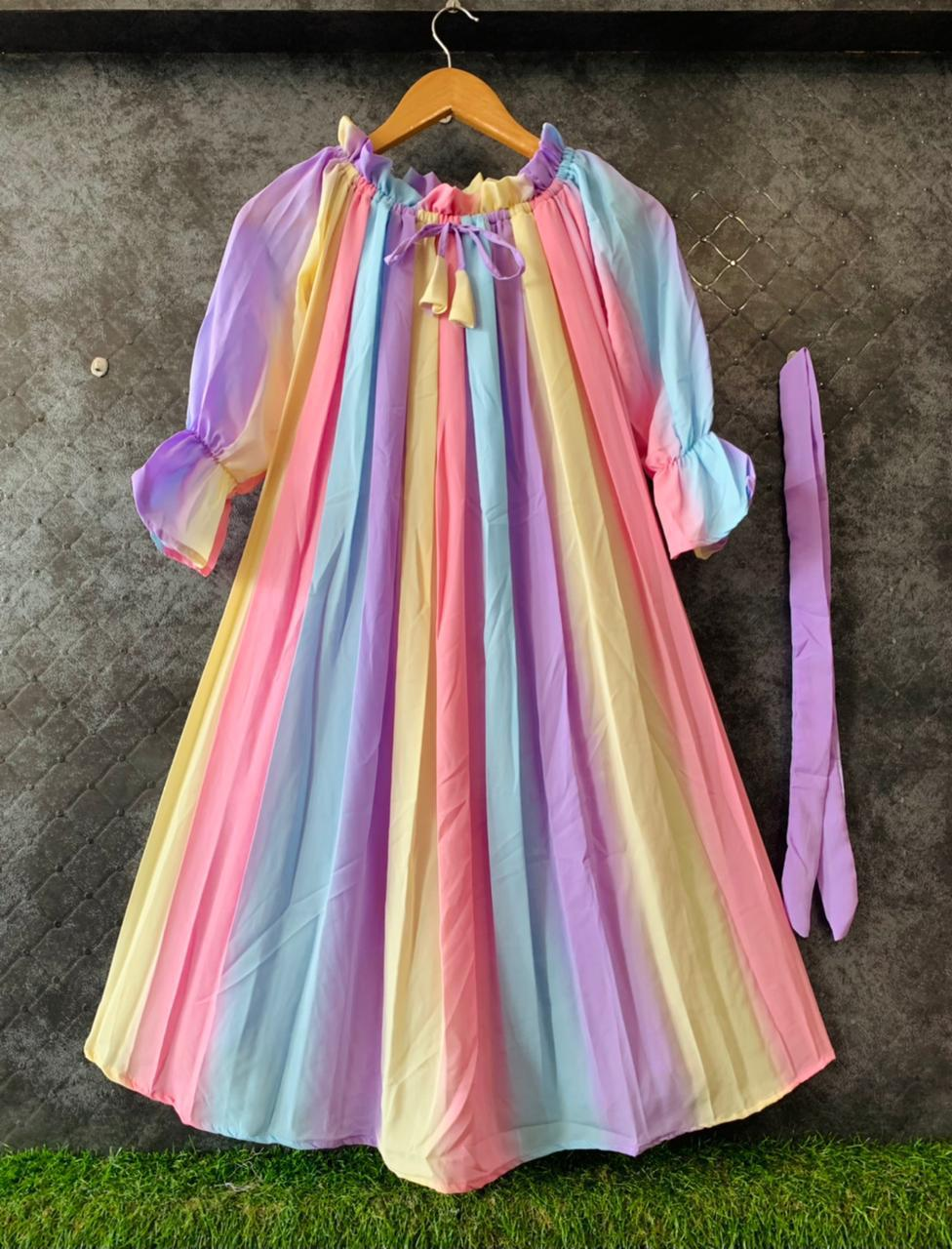 Imported stuff s present off-shoulder pleated rainbow print top