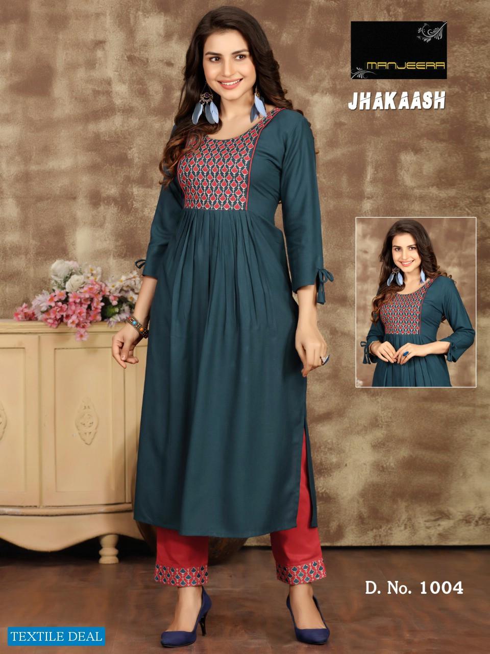 Manjeera Jhakaash Wholesale Readymade Kurti With Pants