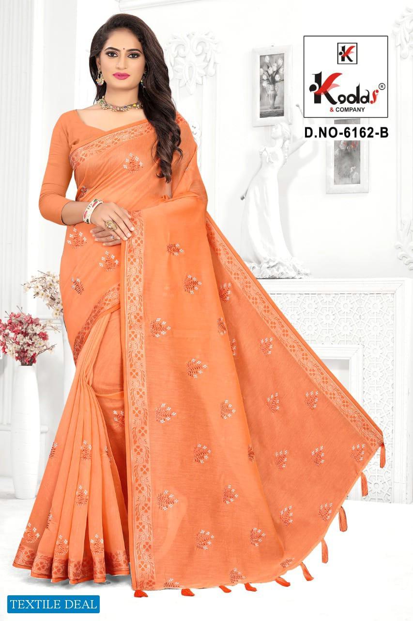 Kodas Ruhani 6162 Wholesale Cotton Saree With Jhalar