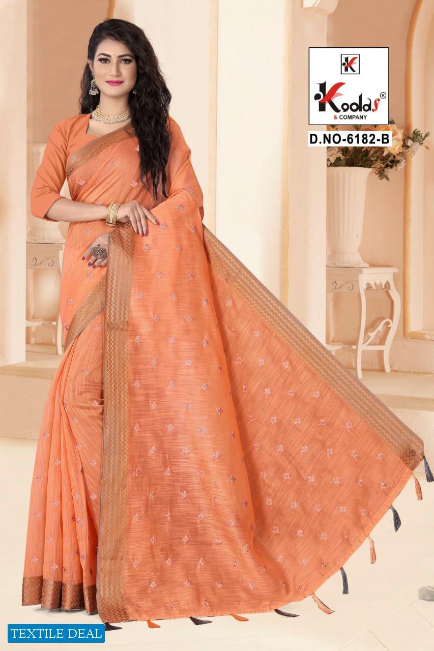 Kodas Ruhani 6182 Wholesale Cotton Saree With Work Saree Blouse