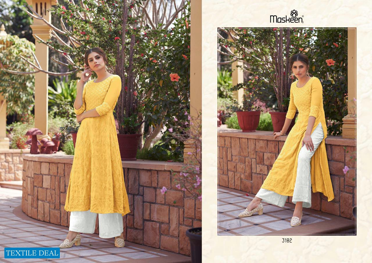 MONSSON VOL 3 BY MASKEEN GEORGETTE LAKHNAWI WORK KURTI WITH PANT COLLECTION