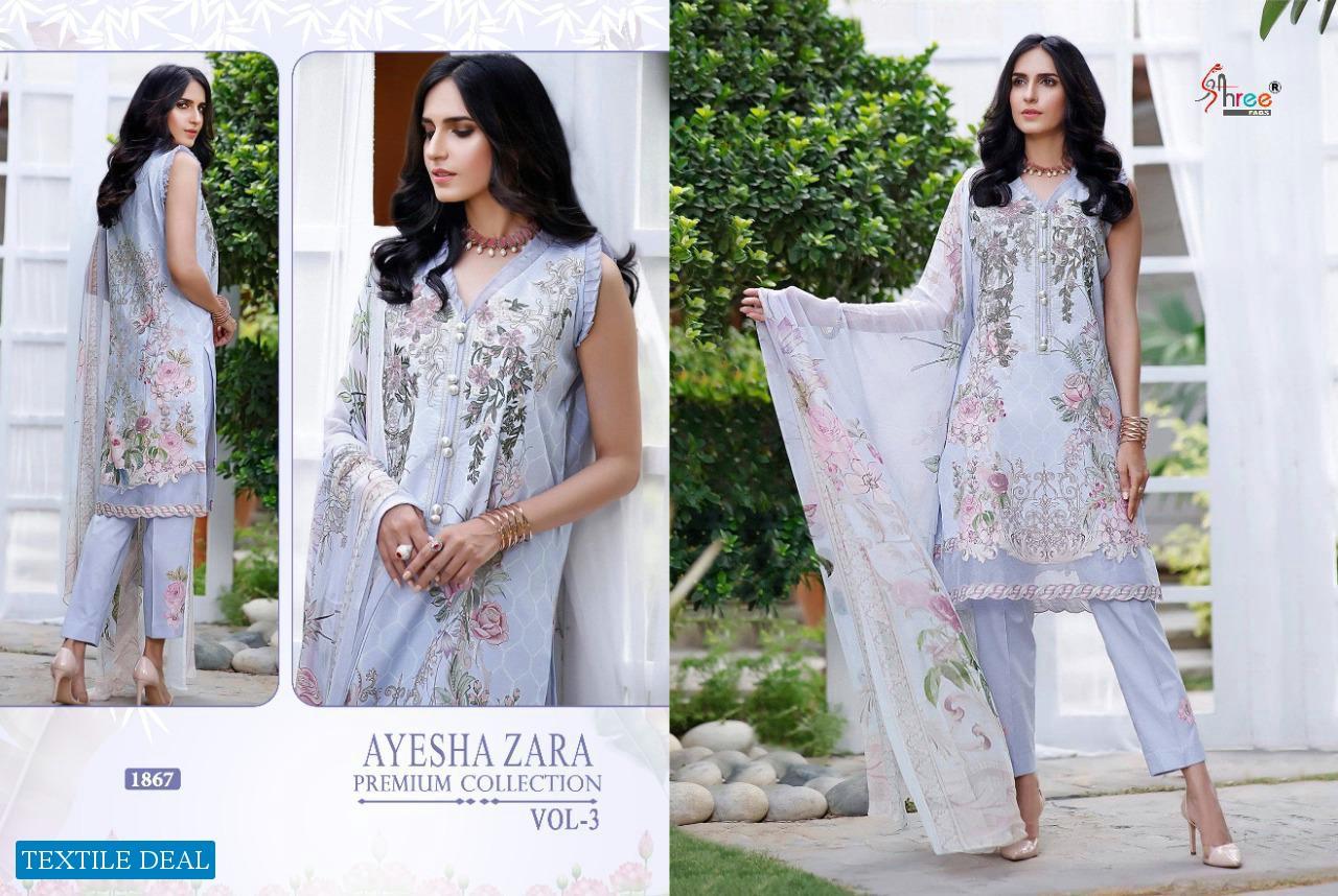 AYESHA ZARA PREMIUM VOL 3 BY SHREE FABS PAKISTANI COTTON DRESS MATERIALS