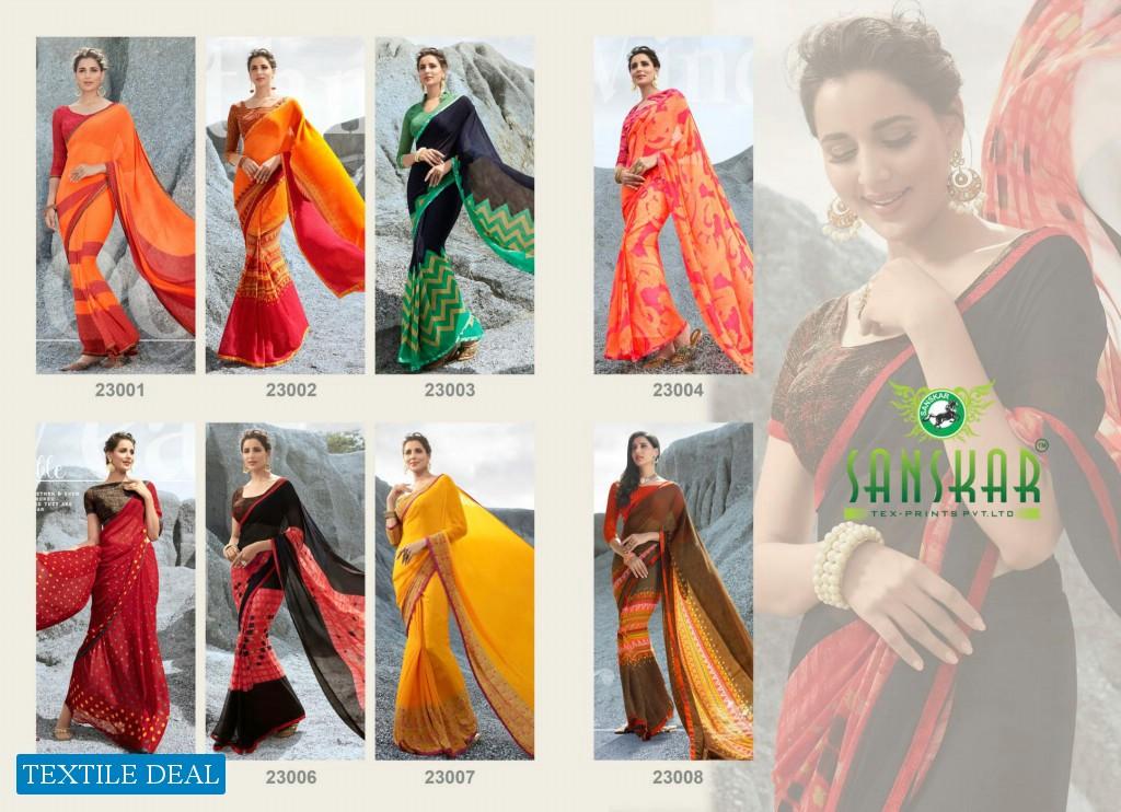 Sanskar Stela Wholesale Bright Chiffon Indian Sarees