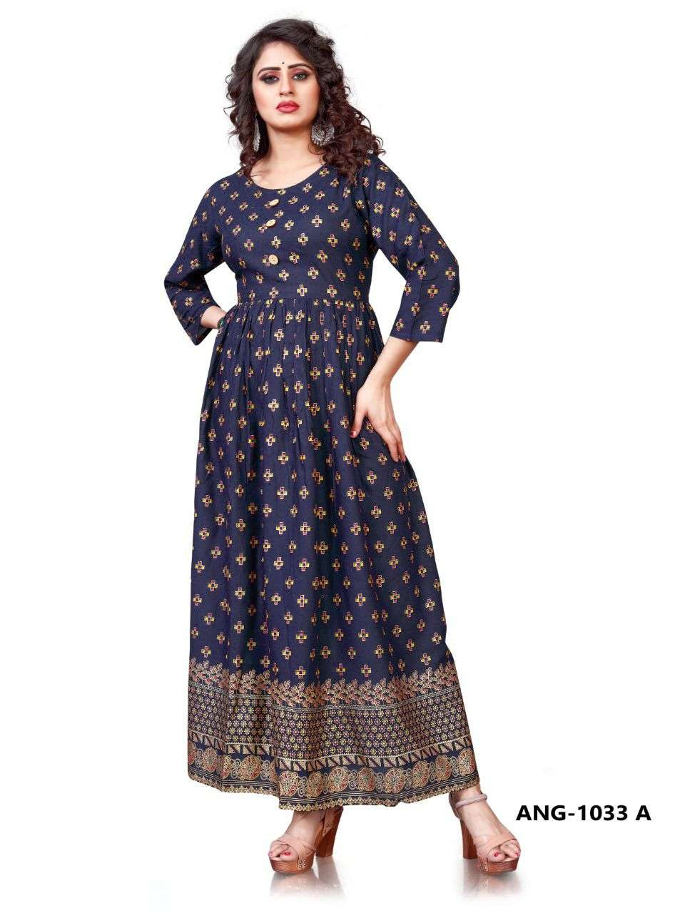 12 ANGEL ANG 1033 GOLD PRINT LONG GOWN DRESS READYMADE COLLECTION