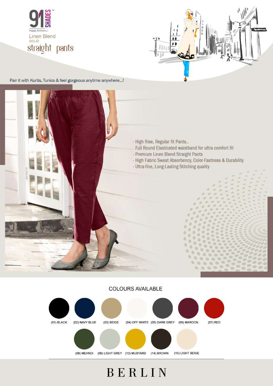 BERLIN BY 91SHADES COTTON LINEN STRAIGHT WOMEN PANT COLLECTION