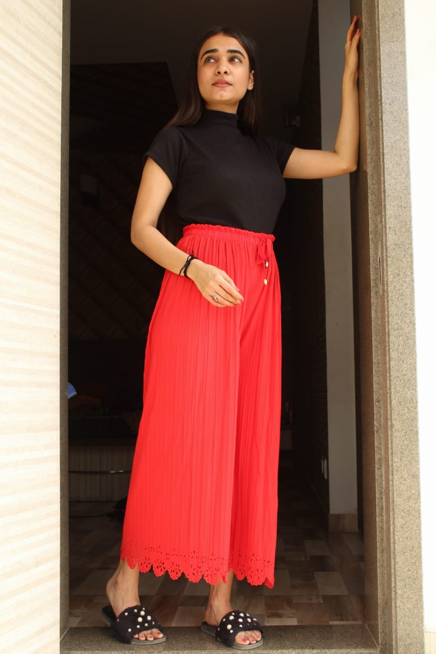 SUMMER SPECIAL IMPORTED LYCRA CUT WORK DESIGNER STYLISH PLAZO COLLECTION