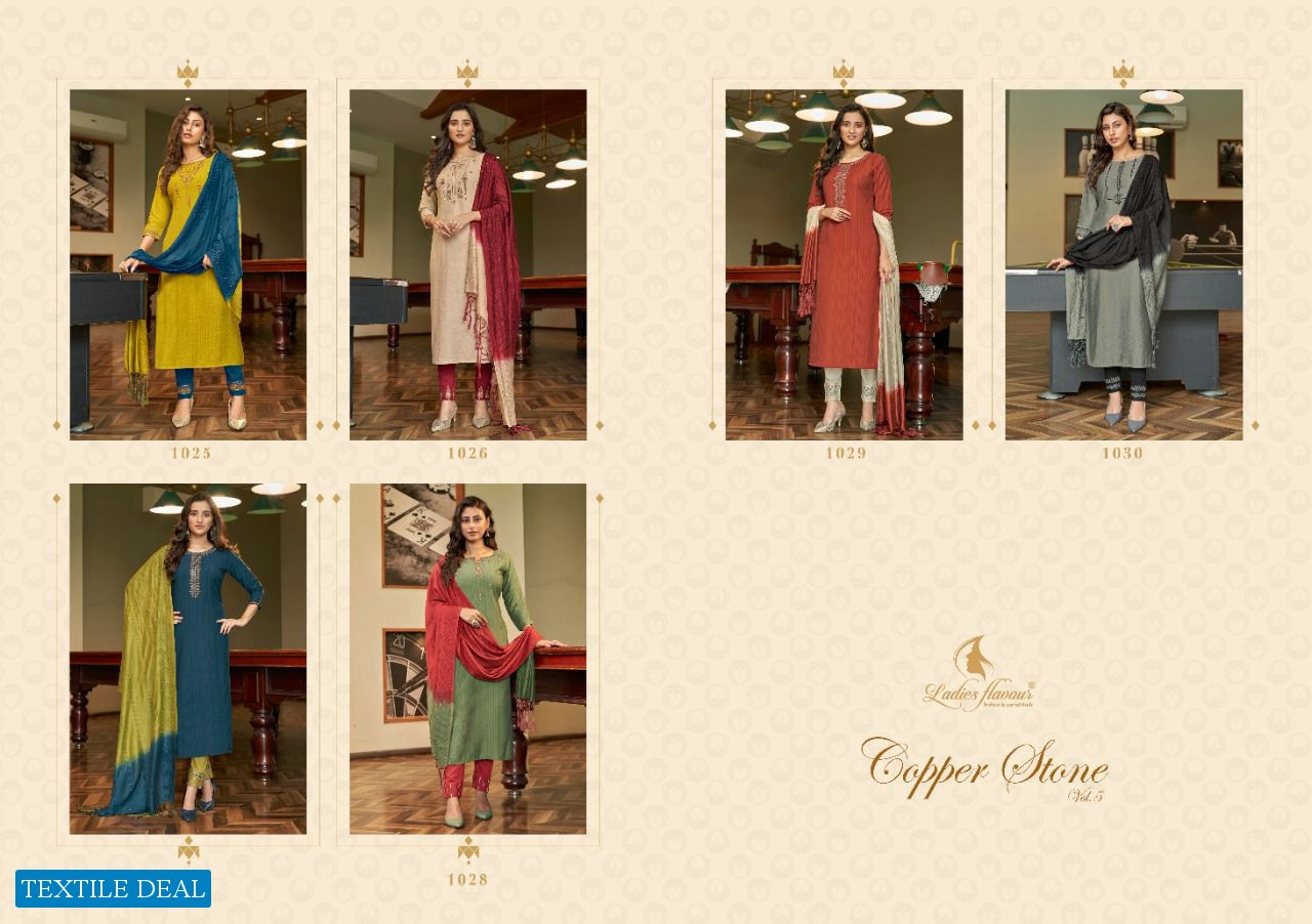 LADIES FLAVOUR COPPER STONE VOL 5 DESIGNER TOP WITH BOTTOM COLLECTION