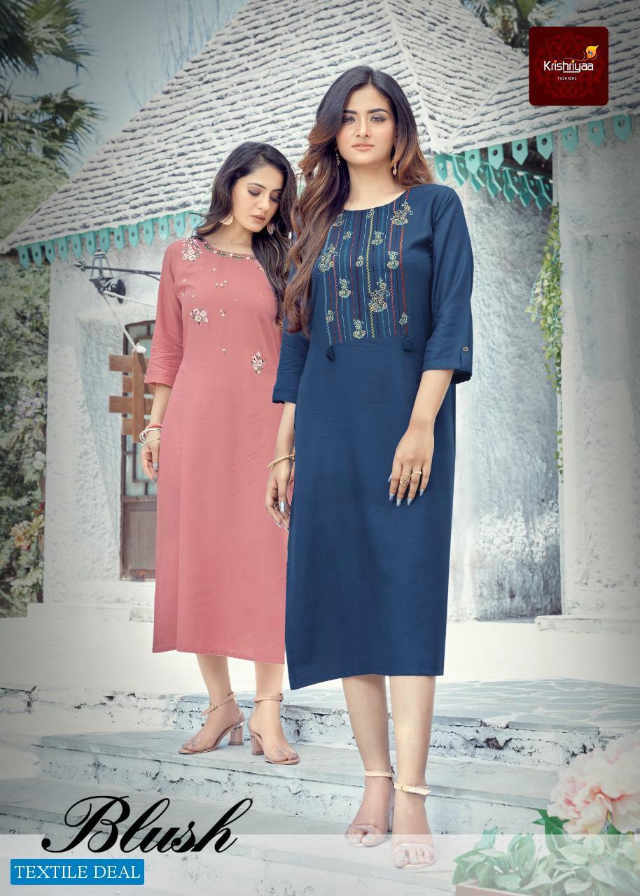 Krishriyaa Blush Wholesale Premium Viscose Reyon Kurtis