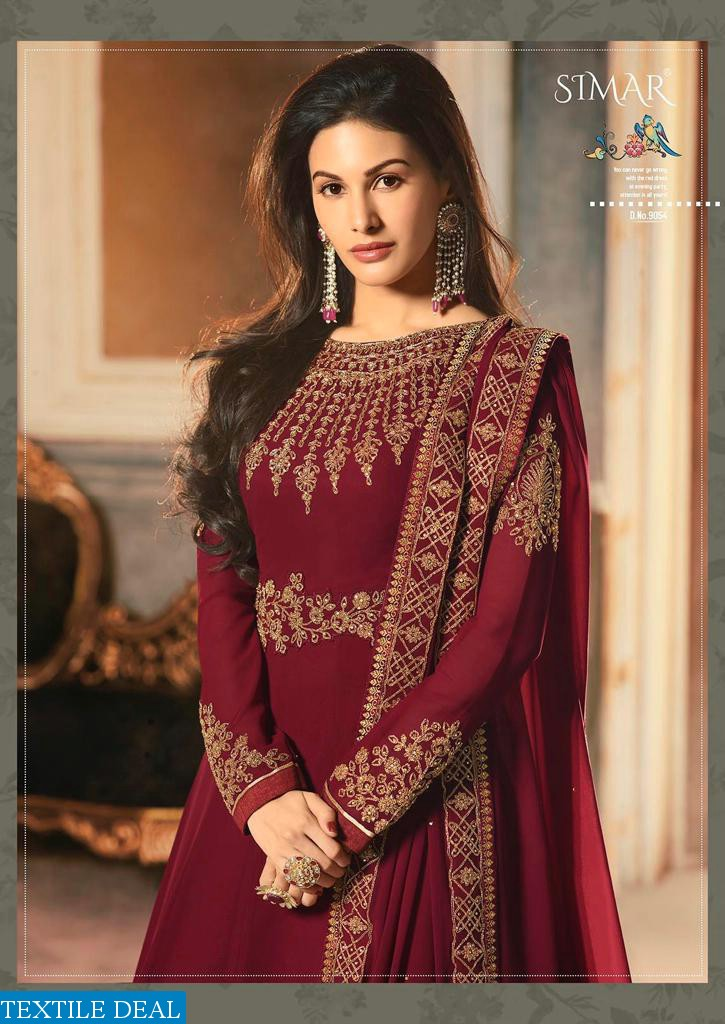 GLOSSY AMYRA ABHA GEORGETTE 9054-9061 SERIES GOWN STYLE HEAVY LOOK SUIT