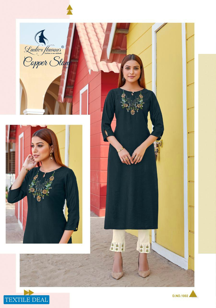 LADIES FLAVOUR COPPER STONE VOL 2 DESIGNER TOP WITH BOTTOM COLLECTION