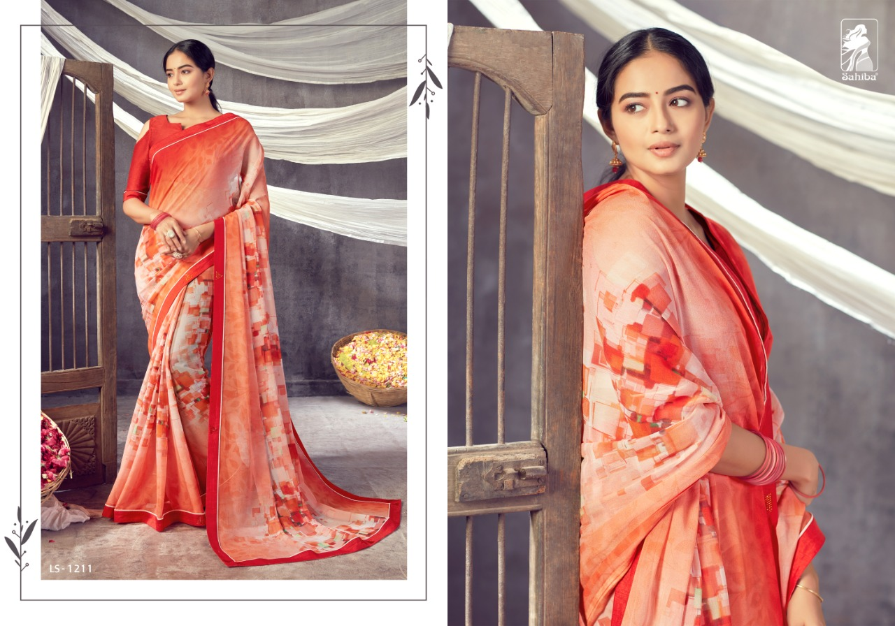 LOTUS VOL 12 BY SAHIBA HEAVY GEORGETTE WITH DESIGNER PRINT FANCY LACE EXCLUSIVE SAREE COLLECTIONS