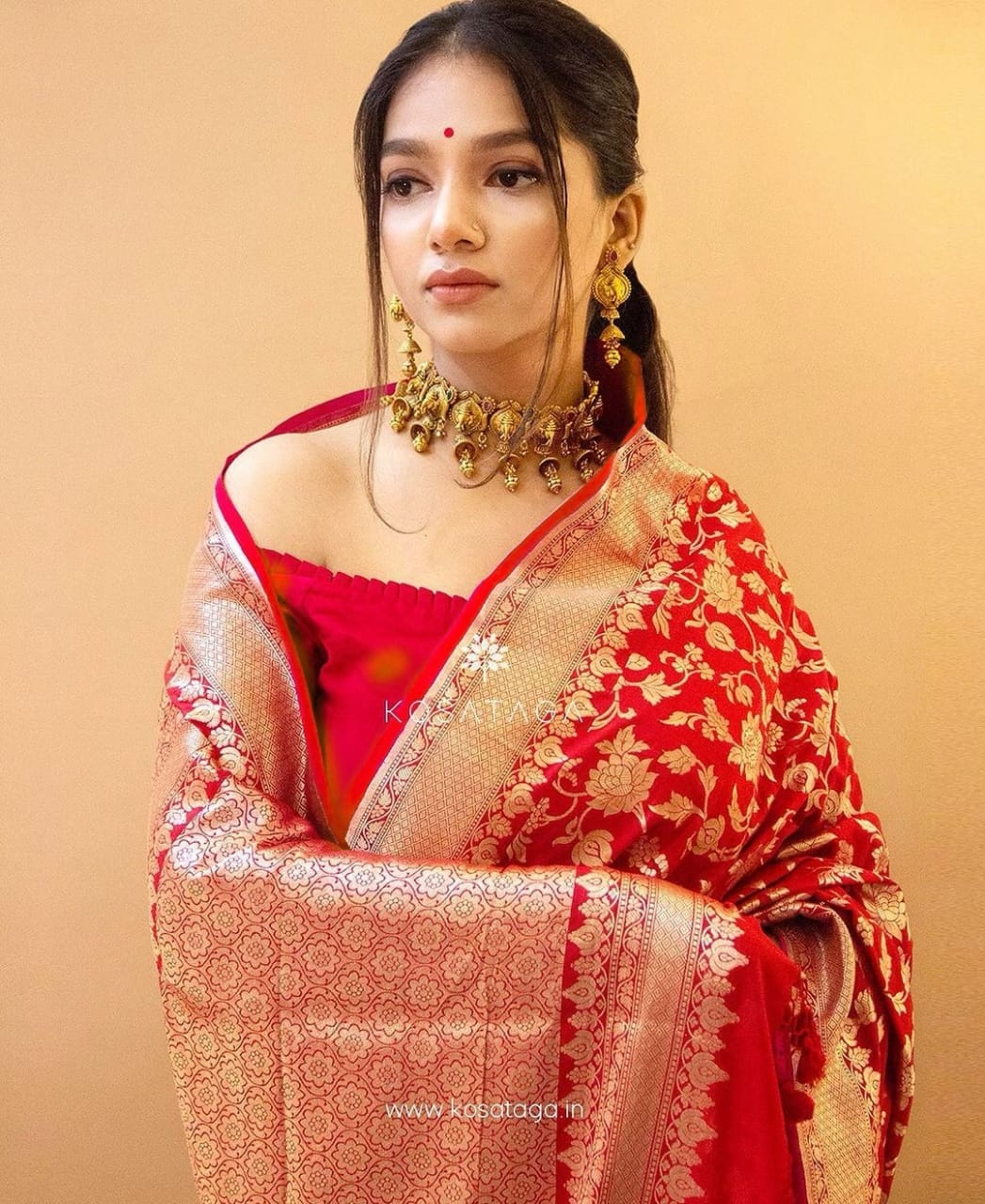 ND028 RED COLOUR SAREE WHOLESALE IN INDIA
