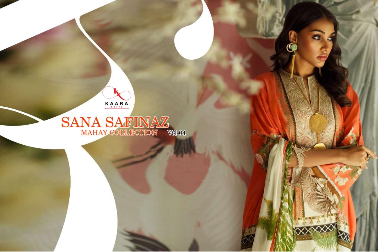 SANA SAFINAZ MAHAY COLLECTION VOL 4 BY KAARA SUITS JAM SATIN PRINT SALWAR KAMEEZ